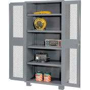 """Jamco Heavy Duty Cabinet DM148 Clearview Doors Four Shelves, Welded  48""""W x 18""""D x 78""""H Gray"""