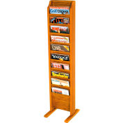 10 Pocket Free Standing Oak Display Medium Oak