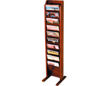 10 Pocket Free Standing Oak Display Mahogany