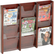 9 Pocket Oak & Acrylic Wall Rack Mahogany