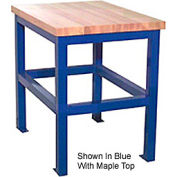 "Built-Rite Standard Shop Stand, Maple Butcher Block Square Edge, 18""W x 24""D x 30""H, Blue"