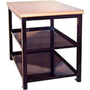 """Built-Rite Double Shelf Shop Stand, Maple Butcher Block Square Edge, 18""""W x 24""""D x 36""""H, Blue"""