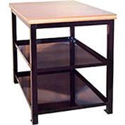 """Built-Rite Double Shelf Shop Stand, Maple Butcher Block Square Edge, 24""""W x 36""""D x 36""""H, Blue"""