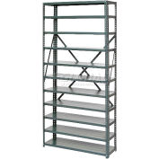 Steel Open Shelving 10 Shelves No Bin - 36x18x73