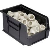 Quantum Plastic Stacking Bins - Parts Storage Bin QUS221 6 x 9-1/4 x 5 Black - Pkg Qty 12
