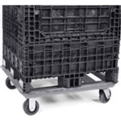 "Steel Dolly For Bulk Container DKD4048 - 48x40 Footprint, 2 Swivel, 2 Rigid 5"" Casters"