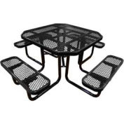 "46"" Octagonal Picnic Table Black Expanded Metal Surface Mount Style"