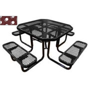 "46"" Octagonal Picnic Table Black Perforated Metal Surface Mount Style"