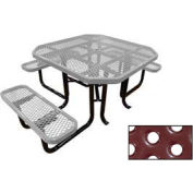 "46"" Octagonal Picnic Table (Ada) Gray Perforated Metal Surface Mount Style"