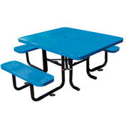 "58"" Picnic Table (ADA) Blue Perforated Metal Surface Mount Style"