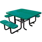 "58"" Picnic Table (ADA) Green Perforated Metal Surface Mount Style"