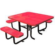 "58"" Picnic Table (ADA) Red Perforated Metal Surface Mount Style"
