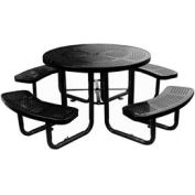 "46"" Round Picnic Table Black Perforated Metal Surface Mount Style"