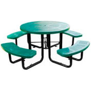"46"" Round Picnic Table Green Perforated Metal Surface Mount Style"