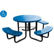 "46"" Round Picnic Table (Ada) Blue Perforated Metal Surface Mount Style"