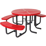 "46"" Round Picnic Table (Ada) Red Perforated Metal Surface Mount Style"