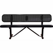 "72"" Bench With Backrest Black Perforated Metal Surface Mount Style"