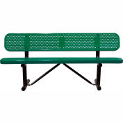 "72"" Bench With Backrest Green Perforated Metal Surface Mount Style"