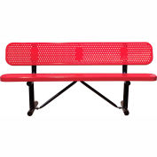 "72"" Bench With Backrest Red Perforated Metal Surface Mount Style"