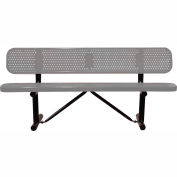 "96"" Bench With Backrest Gray Perforated Metal Surface Mount Style"