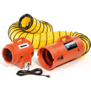 """ECKO 8"""" Portable Ventilation Fan With 15 Feet Ducting 653302 1/3 HP 790 CFM"""