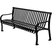 """96"""" Bench Straight Top Ribbed Style Black"""