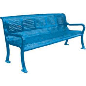 "72"" Perforated Roll Formed Bench - Blue"