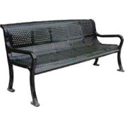 """96"""" Perforated Roll Formed Bench - Black"""