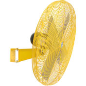 """TPI 24"""" Wall Mount Fan Non Oscillating Yellow 1/2 HP 8,600 CFM 1 PH Totally Enclosed Motor"""