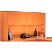 66 Inch Overhead Hutch with Doors in Medium Cherry - Executive Modular Furniture