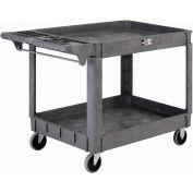"Large Deluxe 2 Shelf Plastic Utility & Service Cart 5"" Rubber Casters"