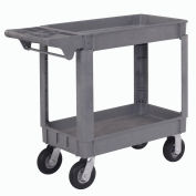 "Small Deluxe 2 Shelf Plastic Utility & Service Cart 6"" Pneumatic Casters"