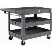 "Large Deluxe 3 Shelf Plastic Utility & Service Cart 5"" Rubber Casters"