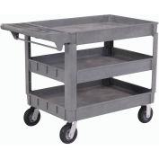 "Large Deluxe 3 Shelf Plastic Utility & Service Cart 6"" Pneumatic Casters"