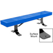 "96"" Slatted Flat Bench Surface Mount Style - Blue"