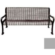 "72"" Roll Formed Wire Bench with Back and Armrests - Gray"