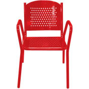 Leisure Craft Outdoor Perforated Chair with Armrests - Red