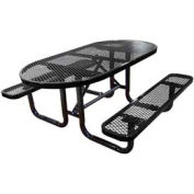 "72"" Oval Expanded Metal Surface Mount Picnic Table - Black"