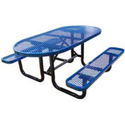 "72"" Oval Expanded Metal Surface Mount Picnic Table - Blue"