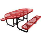 "72"" Oval Expanded Metal Surface Mount Picnic Table - Red"