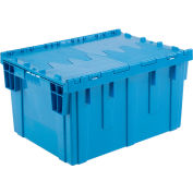 "Global Industrial™ Plastic Shipping/Storage Tote W/Attached Lid, 28-1/8""x20-3/4""x15-5/8"", Blue"
