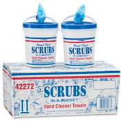 SCRUBS® Premoistened Hand Cleaner Towels, 10-1/2 x 12-1/4, 72 Per Bucket, 6/Ctn - ITW42272CT