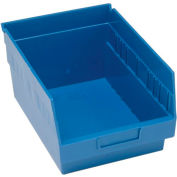 "Quantum Plastic Shelf Storage Bin - QSB207 Nestable 8-3/8""W x 11-5/8""D x 6""H Blue - Pkg Qty 20"