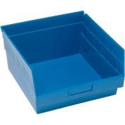 "Quantum Plastic Shelf Storage Bin - QSB209 Nestable 11-1/8""W x 11-5/8""D x 6""H Blue - Pkg Qty 8"
