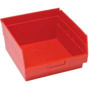 "Quantum Plastic Shelf Storage Bin - QSB209 Nestable 11-1/8""W x 11-5/8""D x 6""H Red - Pkg Qty 8"