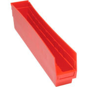 "Quantum Plastic Shelf Storage Bin - QSB205 Nestable 4-1/8""W x 23-5/8""D x 6""H Red - Pkg Qty 16"