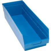 "Quantum Plastic Shelf Storage Bin - QSB214 Nestable 8-3/8""W x 23-5/8""D x 6""H Blue - Pkg Qty 6"