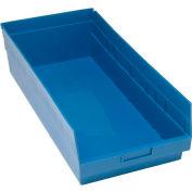 "Quantum Plastic Shelf Storage Bin - QSB216 Nestable 11-1/8""W x 23-5/8""D x 6""H Blue - Pkg Qty 6"