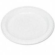 "Plastic Dinnerware, Plates, 7"" Diameter, White, 125 per Pack"