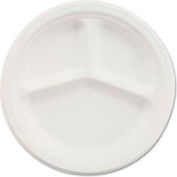 """Chinet® Paper Plate, 10-1/4"""" Round, 3-Compartment, 500/Carton, White"""
